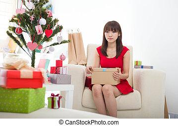 nő, karácsonyi ajándék, karácsony
