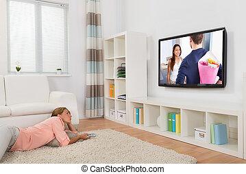 nő, karóra mozi, alatt, nappali
