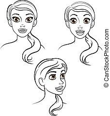 nő, karikatúra, arc
