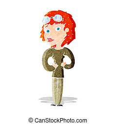 nő, karikatúra, pilóta