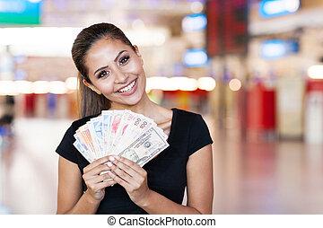 nő, kaszinó, készpénz, fiatal, kívül, birtok
