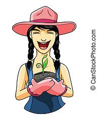 nő, kertész