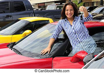nő, kiállítás, kulcs, közül, új, sportkocsi