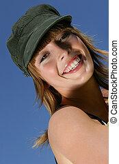 nő, kifáraszt kalap, szabadban