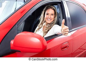nő, kocsiban