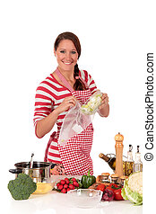 nő, konyha, növényi