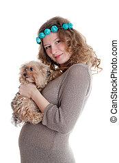 nő, kutyus, terhes