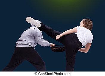 nő, láb, magas, megüt, megrúg, rabló