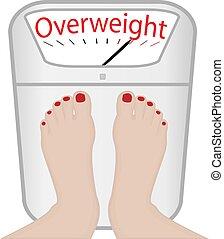nő, lábak, képben látható, egy, mér gép, vektor, illustration., túlsúlyú