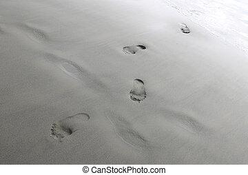 nő, lábnyomok, lábak, homok, tengerpart., vagy, ember