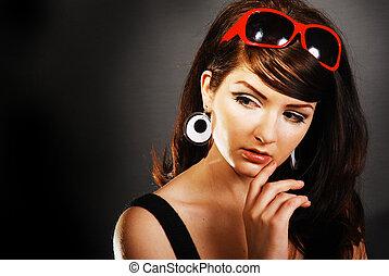 nő, lövés, szépség, /, beijedt, retro, 60\'s, bájos