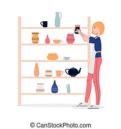 nő, lakás, műhely, díszlet, agyag, vektor, ábra, isolated., ...