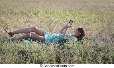 nő, legelészés, fiatal, internet