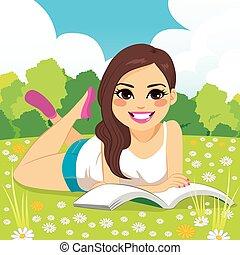 nő, liget, felolvasás