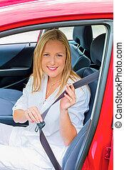 nő, mérőszalag, és, reeled, képben látható, előbb, vezetés