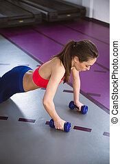 nő, mér, push-ups, fiatal