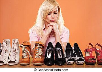 nő, mód, cipők, öntudatos