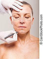 nő, műanyag, előkészítő, sebészet, idősebb ember