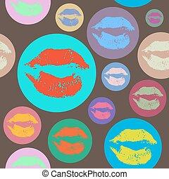 nő, művészet, ajakrúzs, motívum, váratlanul, style., ajkak, kiss.