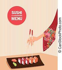 nő, maki, fog, sushi, kínai evőpálcikák, kéz