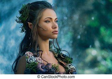 nő, manó, varázslatos, erdő