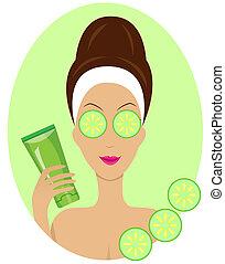 nő, maszk, arc, kozmetikai