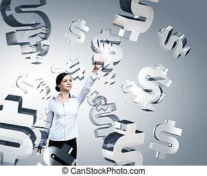 nő, megható, dollar cégtábla