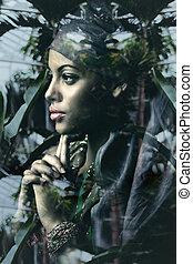 nő, megkettőz, fiatal, képzelet, fekete, portré, kitevés