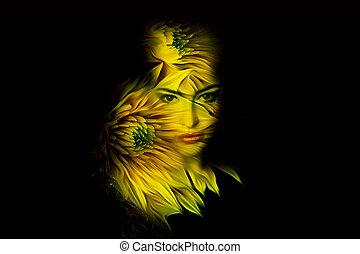 nő, megkettőz, fiatal, képzelet, portré, kitevés