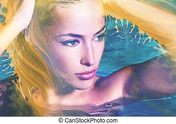 nő, megkettőz, fiatal, kreatív, portré, pocsolya, kitevés