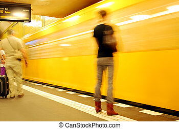 nő, metró, várakozás, fiatal, berlin, kiképez, narancs