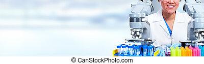 nő, microscope., dolgozó, orvos