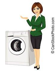 nő, mosás, neki, kiállítás, értékesítések, gép, bájos, kézbesít