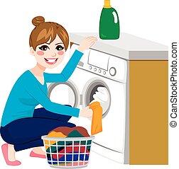 nő, mosoda