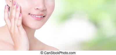 nő, mosoly, száj, noha, egészség, fog, elzáródik