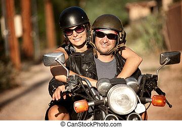 nő, motorkerékpár, ember