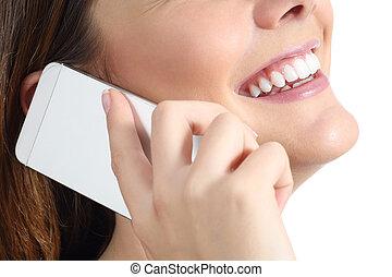 nő, mozgatható, feláll, hívás, telefon, becsuk, mosolygós