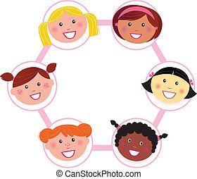 nő, multi-, -, kulturális, csoport, egység