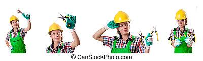 nő, munkás, elszigetelt, képben látható, a, fehér