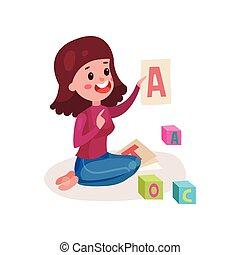 nő, női, színes, ülés, abc, kiállítás, emelet, egy, ábra, karikatúra, vektor, levél, gyermek, tanítás, mosolygós, tanár
