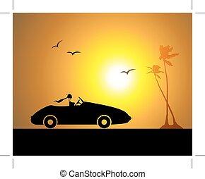 nő, napnyugta, vezetés, autó