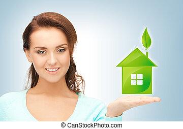 nő, neki, épület, zöld, hatalom kezezés
