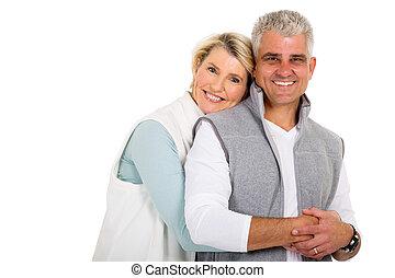 nő, neki, ölelgetés, középső érlel, férj