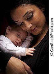 nő, neki, újszülött, bájos, etnikai, csecsemő