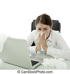 nő, neki, ügy, hankies, fiatal, mögött, barna nő, beteg, laptop