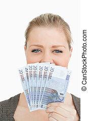 nő, neki, arc, banknotes, középső, elverés, euro