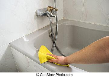 nő, neki, fényesít, sárga, ruhaanyag, fürdőkád