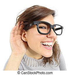 nő, neki, feláll, kéz, kihallgatás, becsuk, fül