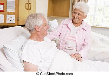 nő, neki, látogató, kórház, idősebb ember, férj