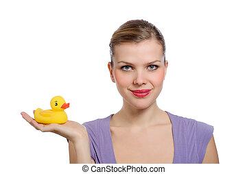 nő, neki, sárga, kéz, gumikacsa